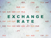 Currency concept: Exchange Rate on Digital Paper background. Currency concept: Painted green text Exchange Rate on Digital Paper background with Currency Stock Photography