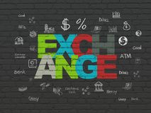 Currency concept: Exchange on wall background. Currency concept: Painted multicolor text Exchange on Black Brick wall background with  Hand Drawn Finance Icons Royalty Free Stock Images