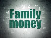 Currency concept: Family Money on Digital Data Paper background. Currency concept: Painted green text Family Money on Digital Data Paper background with  Hand Stock Photography