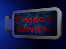 Currency concept: Financial Services on billboard background. Currency concept: Financial Services on advertising billboard background, 3D rendering Royalty Free Stock Photography