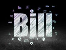 Currency concept: Bill in grunge dark room. Currency concept: Glowing text Bill,  Hand Drawn Finance Icons in grunge dark room with Dirty Floor, black background Royalty Free Stock Image