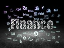 Currency concept: Finance in grunge dark room. Currency concept: Glowing text Finance,  Hand Drawn Finance Icons in grunge dark room with Dirty Floor, black Royalty Free Stock Photo