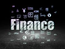 Currency concept: Finance in grunge dark room. Currency concept: Glowing text Finance,  Hand Drawn Finance Icons in grunge dark room with Dirty Floor, black Royalty Free Stock Image