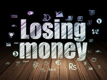 Currency concept: Losing Money in grunge dark room. Currency concept: Glowing text Losing Money,  Hand Drawn Finance Icons in grunge dark room with Wooden Floor Stock Photo