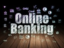 Currency concept: Online Banking in grunge dark room. Currency concept: Glowing text Online Banking,  Hand Drawn Finance Icons in grunge dark room with Wooden Stock Photo