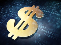 Currency concept: Golden Dollar on digital Stock Images