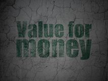 Currency concept: Value For Money on grunge wall background Stock Image