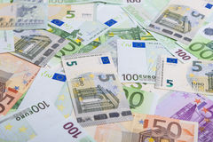 Currency Concept: Incoherent Heap of European Banknotes Currency Royalty Free Stock Photos