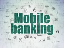 Currency concept: Mobile Banking on Digital Data Paper background. Currency concept: Painted green text Mobile Banking on Digital Data Paper background with Royalty Free Stock Photography
