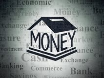 Currency concept: Money Box on Digital Data Paper background. Currency concept: Painted black Money Box icon on Digital Data Paper background with  Tag Cloud Royalty Free Stock Image