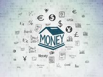 Currency concept: Money Box on Digital Data Paper background. Currency concept: Painted blue Money Box icon on Digital Data Paper background with  Hand Drawn Stock Photos