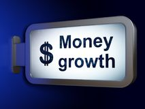Currency concept: Money Growth and Dollar on billboard background. Currency concept: Money Growth and Dollar on advertising billboard background, 3D rendering Royalty Free Stock Images