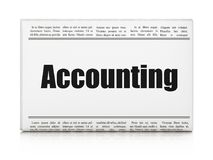 Currency concept: newspaper headline Accounting. On White background, 3D rendering Royalty Free Stock Image