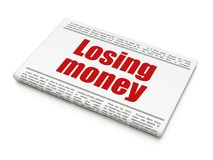 Currency concept: newspaper headline Losing Money. On White background, 3D rendering Stock Image