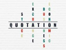 Currency concept: Quotation in Crossword Puzzle Stock Images
