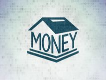 Currency concept: Money Box on Digital Data Paper background. Currency concept: Painted blue Money Box icon on Digital Data Paper background Royalty Free Stock Image