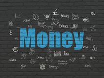 Currency concept: Money on wall background. Currency concept: Painted blue text Money on Black Brick wall background with  Hand Drawn Finance Icons Stock Images