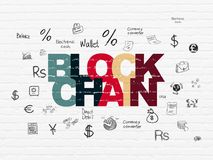 Currency concept: Blockchain on wall background. Currency concept: Painted multicolor text Blockchain on White Brick wall background with  Hand Drawn Finance Royalty Free Stock Images