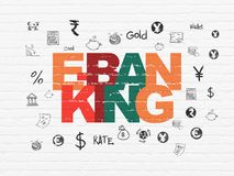 Currency concept: E-Banking on wall background. Currency concept: Painted multicolor text E-Banking on White Brick wall background with  Hand Drawn Finance Icons Stock Photos