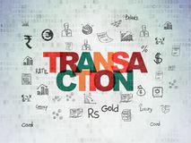 Currency concept: Transaction on Digital Data Paper background. Currency concept: Painted multicolor text Transaction on Digital Data Paper background with  Hand Stock Photography