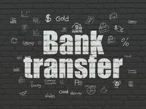 Currency concept: Bank Transfer on wall background. Currency concept: Painted white text Bank Transfer on Black Brick wall background with  Hand Drawn Finance Stock Photos