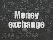 Currency concept: Money Exchange on wall background. Currency concept: Painted white text Money Exchange on Black Brick wall background with Scheme Of Hand Drawn Stock Photos