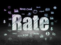 Currency concept: Rate in grunge dark room. Currency concept: Glowing text Rate,  Hand Drawn Finance Icons in grunge dark room with Dirty Floor, black background Stock Photo