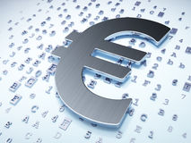 Currency concept: Silver Euro on digital. Background, 3d render Royalty Free Stock Photo