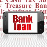Currency concept: Smartphone with Bank Loan on display. Currency concept: Smartphone with  red text Bank Loan on display,  Tag Cloud background, 3D rendering Royalty Free Stock Photos