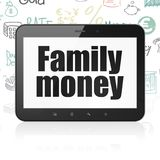 Currency concept: Tablet Computer with Family Money on display Royalty Free Stock Images