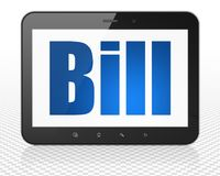 Currency concept: Tablet Pc Computer with Bill on display. Currency concept: Tablet Pc Computer with blue text Bill on display, 3D rendering Royalty Free Stock Photo