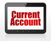 Currency concept: Tablet Pc Computer with Current Account on display. Currency concept: Tablet Pc Computer with red text Current Account on display, 3D rendering Royalty Free Stock Photography
