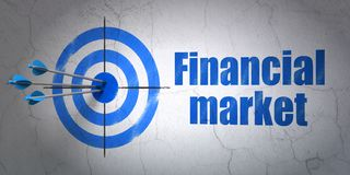 Currency concept: target and Financial Market on wall background. Success currency concept: arrows hitting the center of target, Blue Financial Market on wall Stock Photo