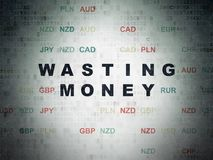 Currency concept: Wasting Money on Digital Data Paper background Royalty Free Stock Photos