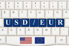 Currency converter on the internet. A close-up of a keyboard with blue highlighted text USD EUR Royalty Free Stock Photo