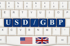 Currency converter on the internet. A close-up of a keyboard with blue highlighted text USD GBP Stock Photography