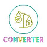 Currency Converter Tipped Scales Depiction Icon. Onverter sign tipped scales depiction for currency. Dollar and euro exchange symbol. Small round framed icon in stock illustration