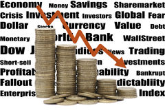 Currency and crisis. Depiction of economical crisis with drop in stock value and currency strength Stock Photos