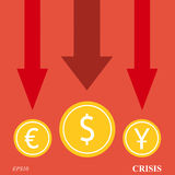 Currency crisis arrows Stock Images