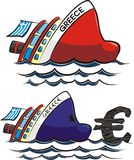 Sinking greece. Currency crisis in the euro zone stock illustration