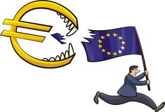 Euro zone crisis - threat to the euro Stock Images