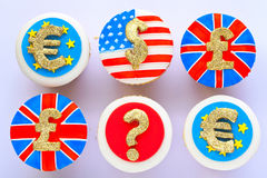 Currency cupcakes. Royalty Free Stock Photo