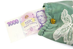 Currency of the Czech republic. Czech crown banknote, currency of the Czech republic in the central Europe Stock Images