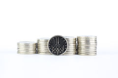 Currency of the Czech republic. Czech crown coins, currency of the Czech republic in the central Europe Royalty Free Stock Photo