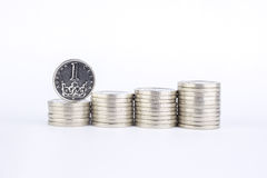 Currency of the Czech republic. Czech crown coins, currency of the Czech republic in the central Europe Royalty Free Stock Photos