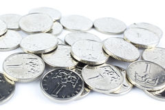 Currency of the Czech republic. Czech crown coins, currency of the Czech republic in the central Europe Stock Image
