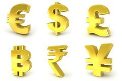 Currency 3D golden signs Stock Images