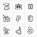 Currency devaluation  icons set Stock Photos