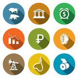 Currency devaluation Icons Set. Vector Royalty Free Stock Photo