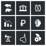 Currency devaluation icons. Vector Illustration. Stock Photos